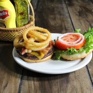 Burger at Pebbles Family Restaurant